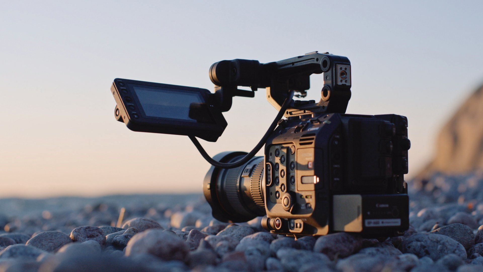 Canon Cinema EOS C300 Mark III on rocks